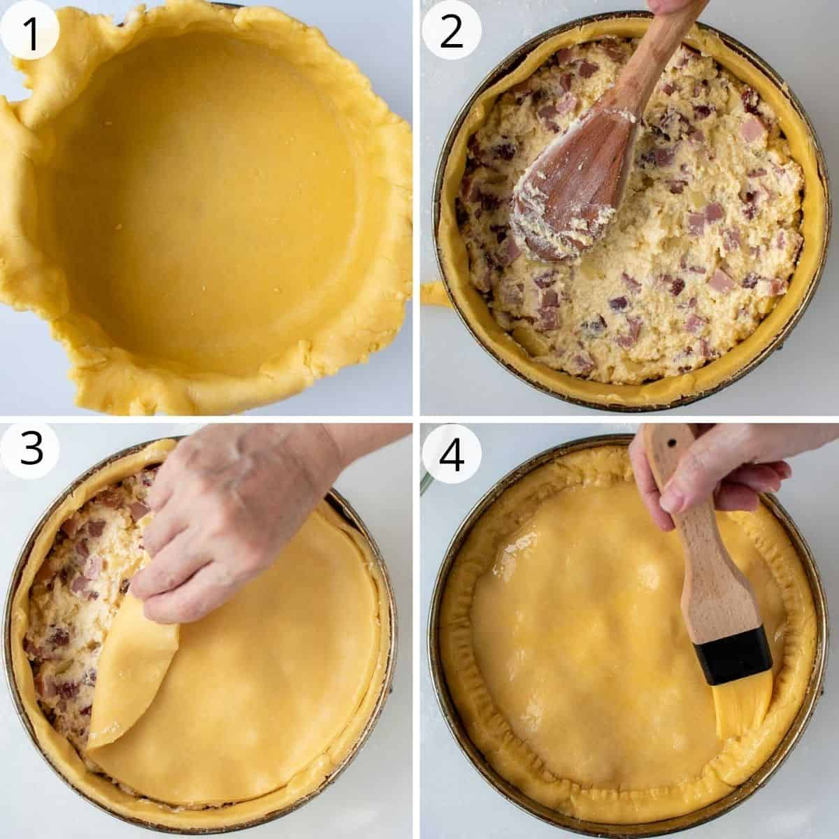4-step photo collage showing how to assemble italian pie.