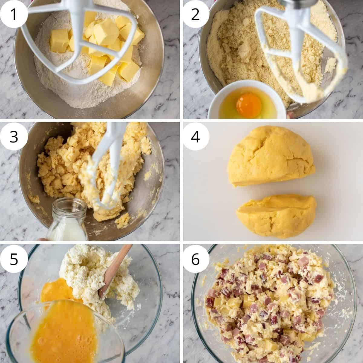 6 step photo collage showing how to make dough and filling for italian pie.