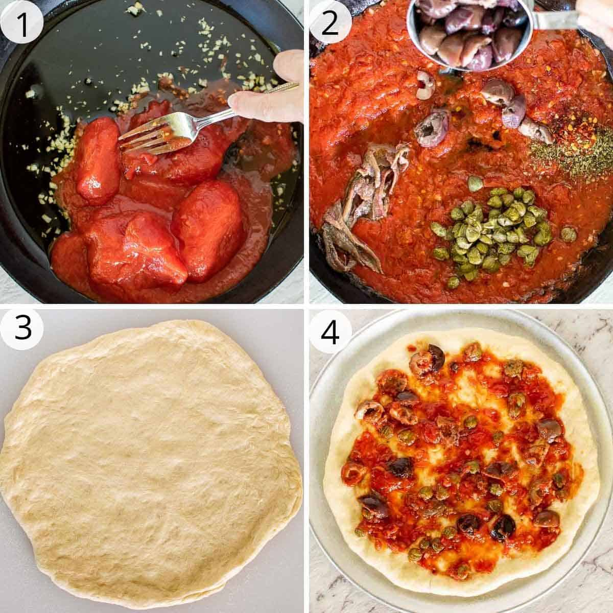 4-step photo collage of preparing calabrese pizza sauce and dough.