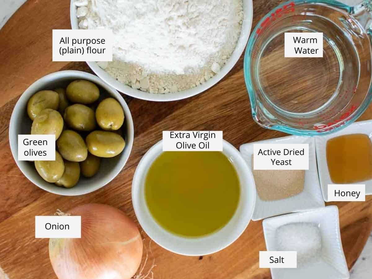 ingredients for focaccia genovese as in the recipe card