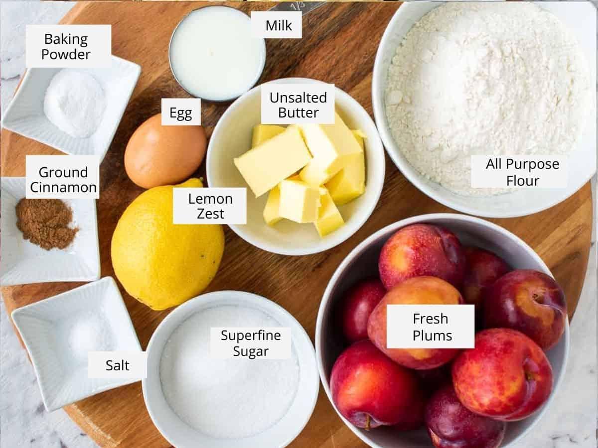ingredients for german plum cake.