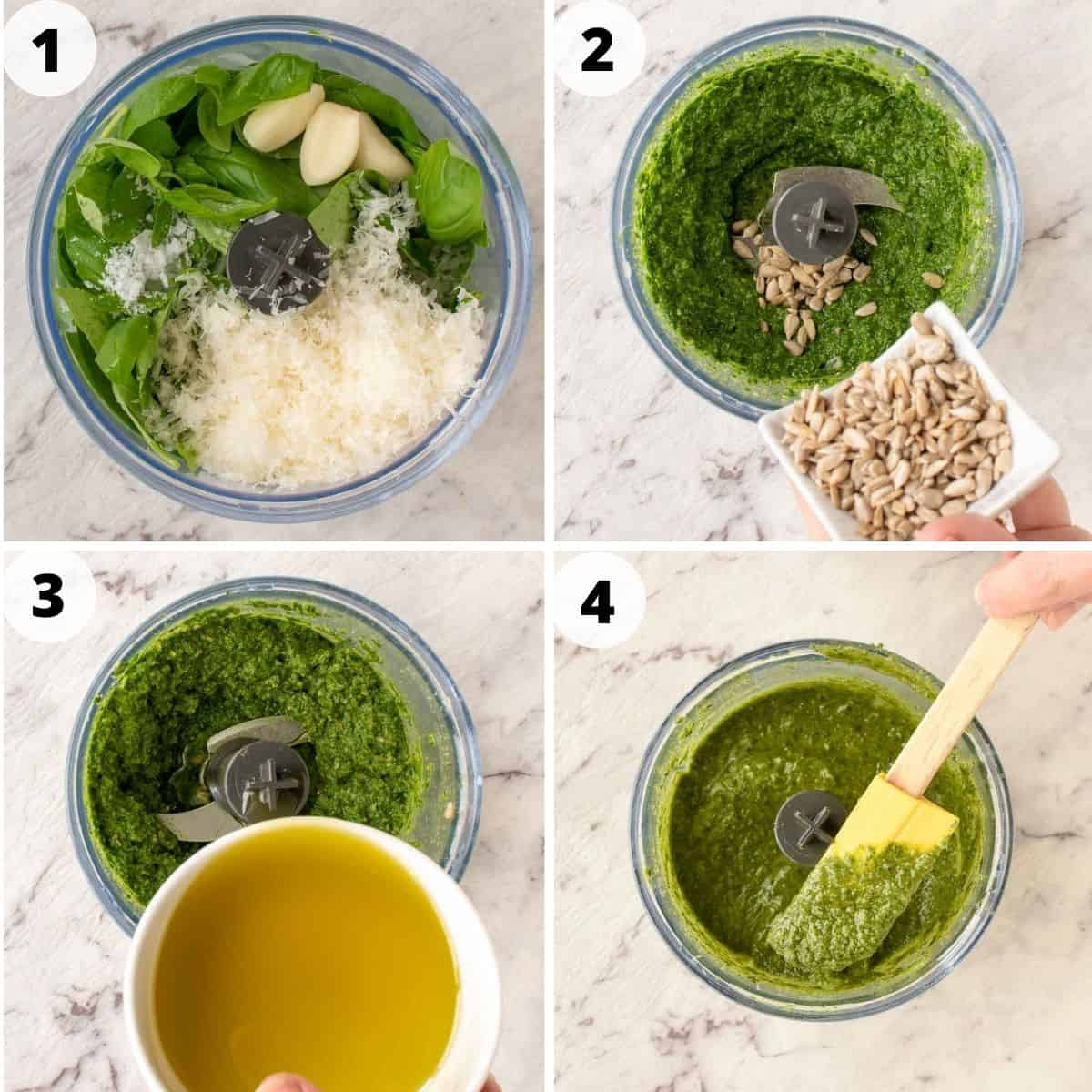 4 step photo collage showing how to make nut free pesto
