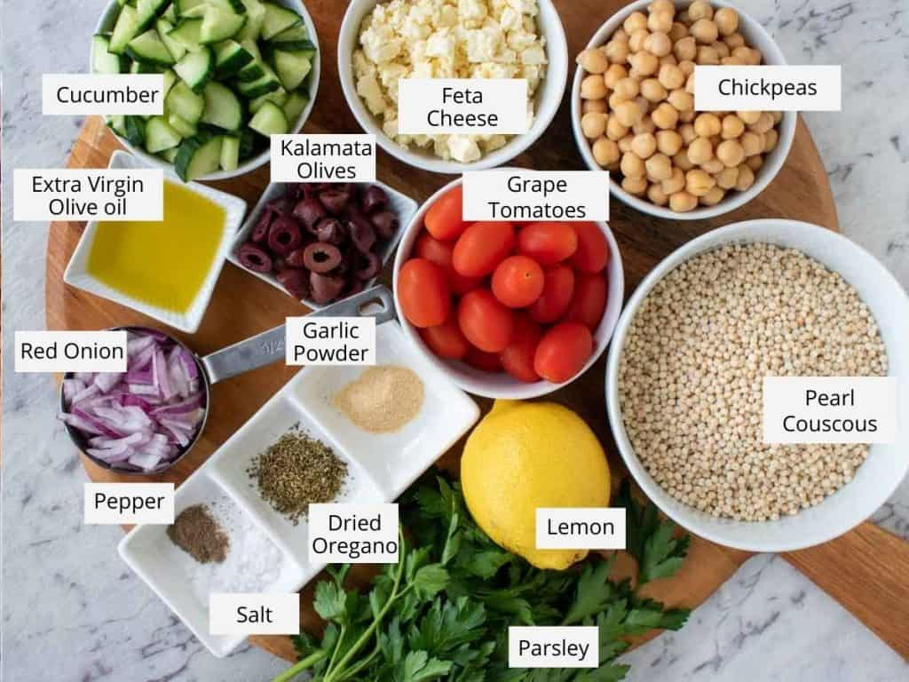 greek couscous salad ingredients as in the recipe card.
