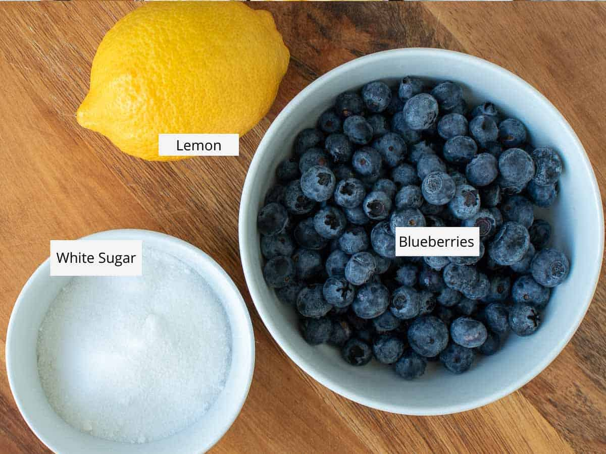 ingredients for blueberry compote