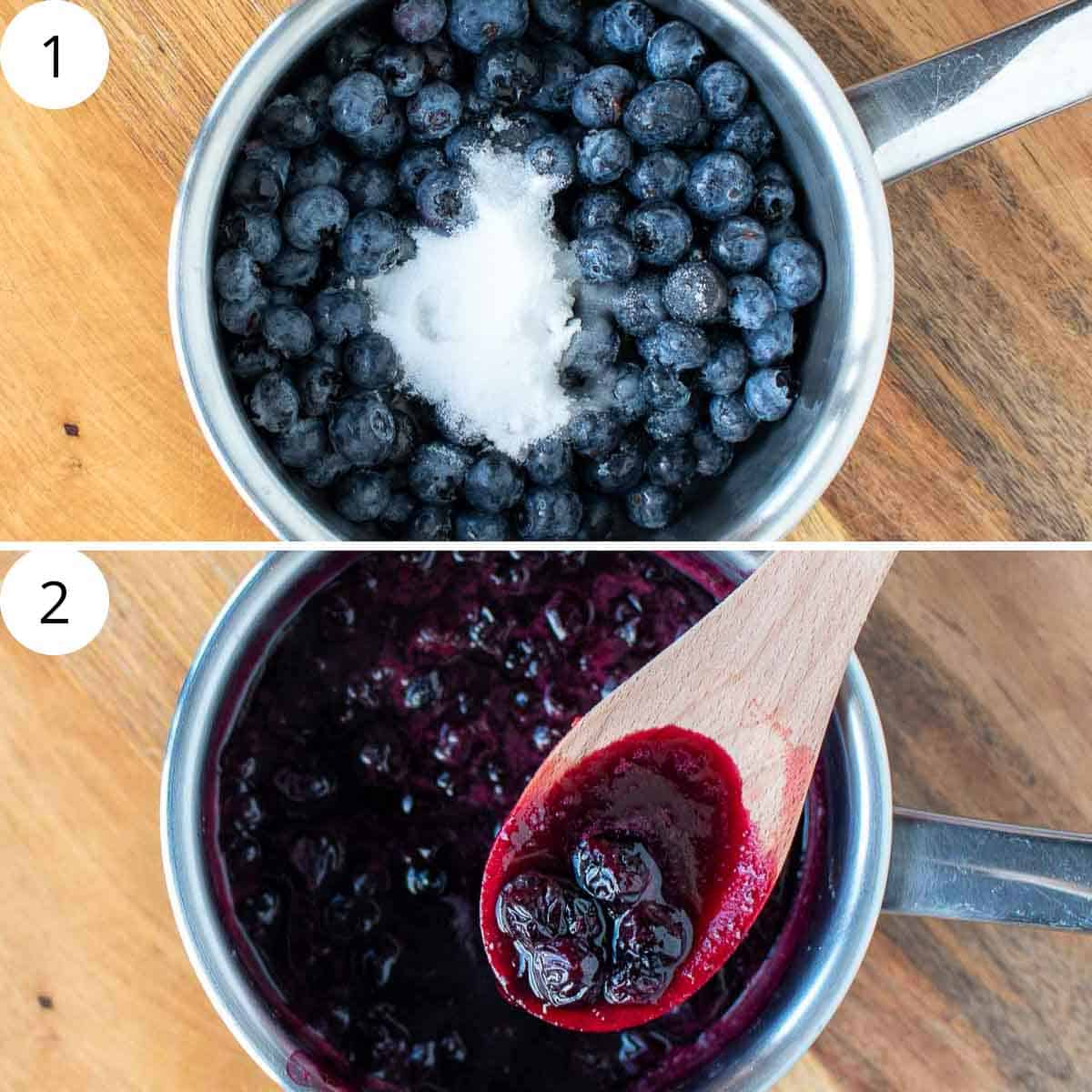 two images. top image is blueberries and white sugar in a saucepan. bottom image is blueberry compote in saucepan with wooden spoon lifting some out.