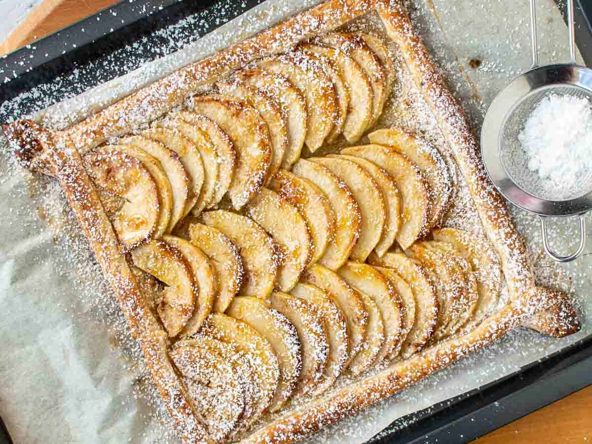 puff pastry apple tart viewed from above.