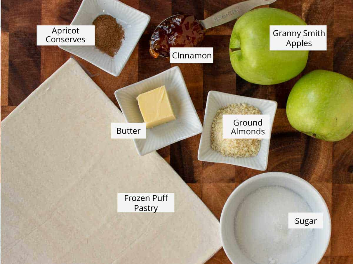 ingredients for puff pastry apple tart.