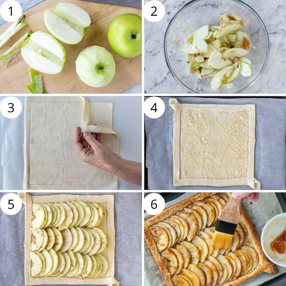 6 step photo collage showing how to make puff pastry apple tart.