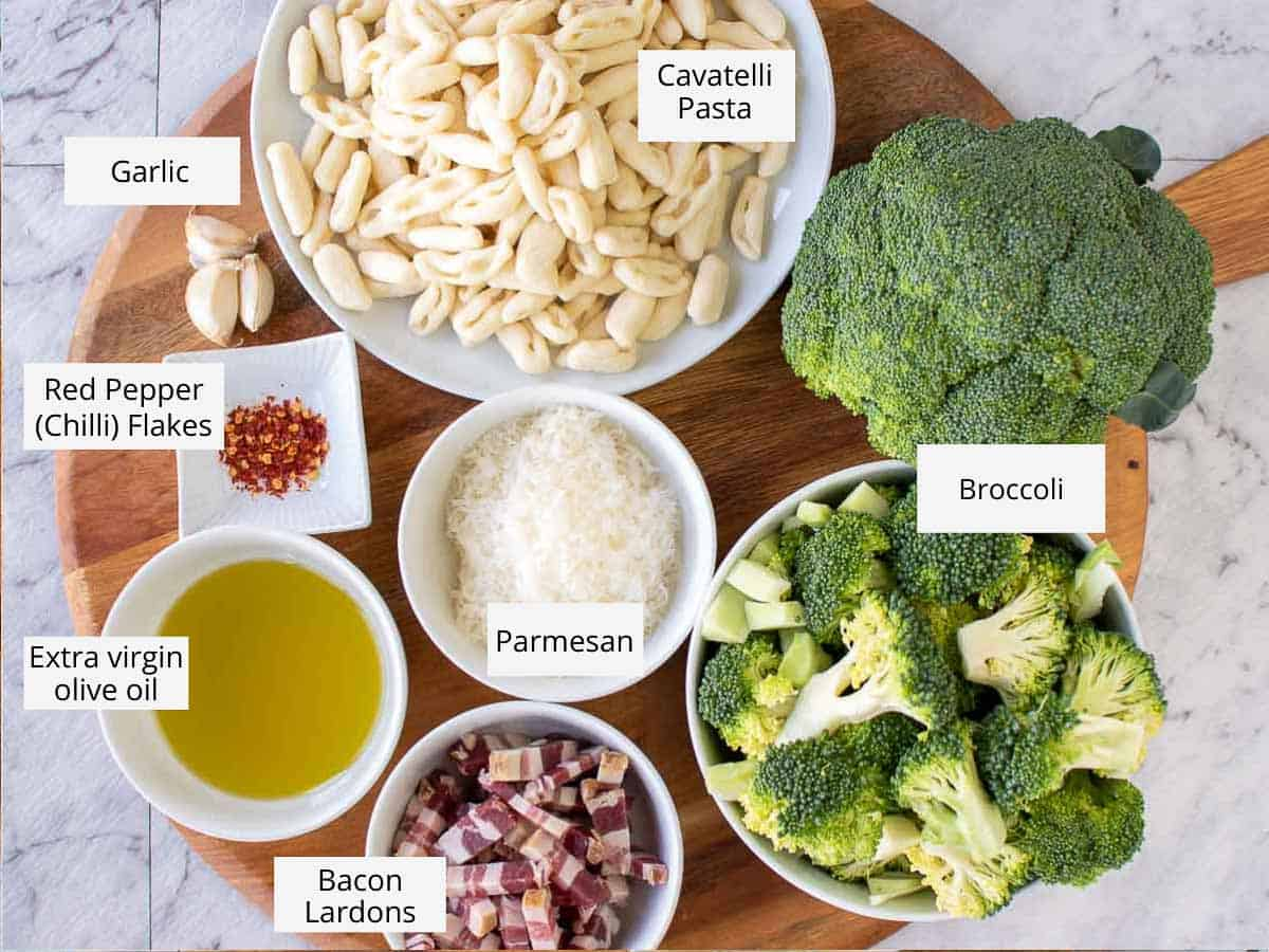 overhead view of ingredients for broccoli pasta as in the recipe card.