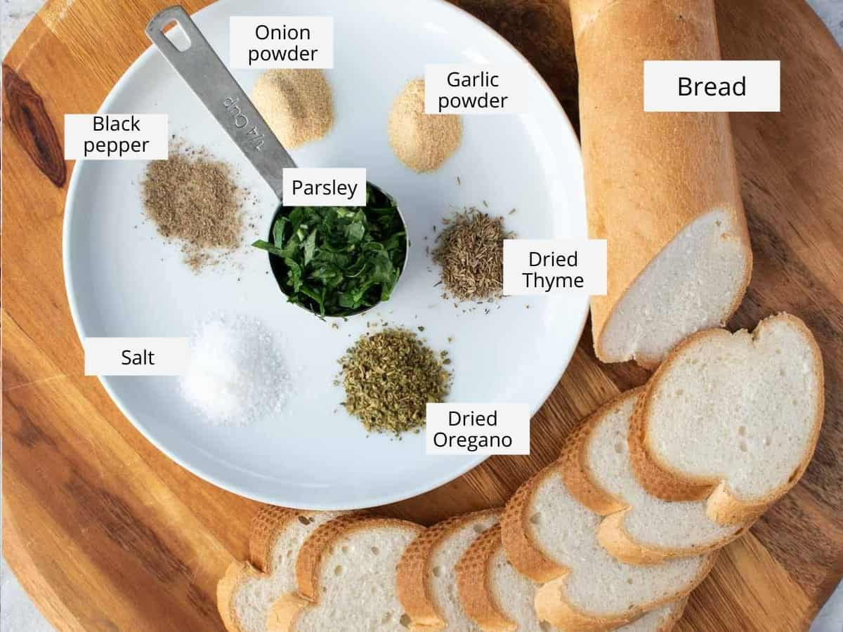 ingredients for italian breadcrumbs.