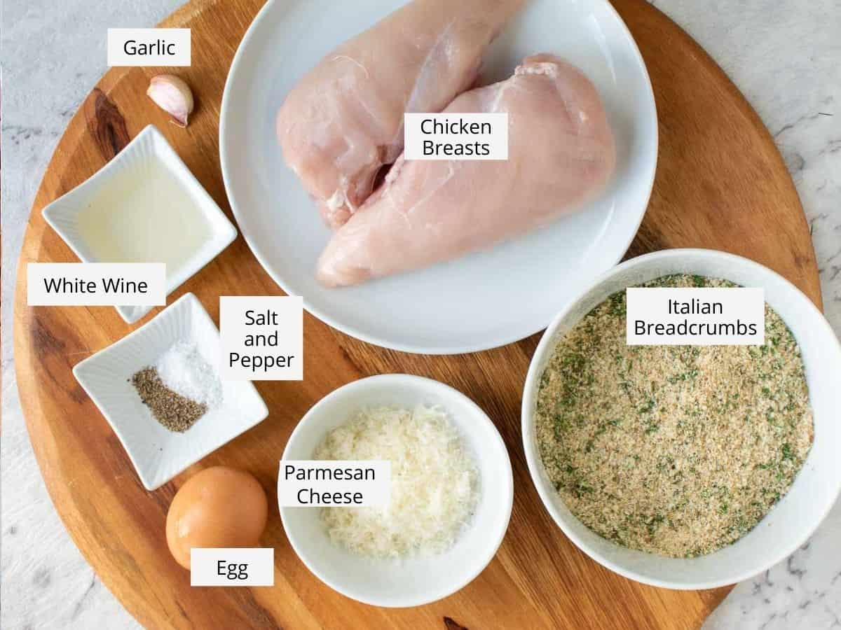 ingredients for italian chicken cutlets.