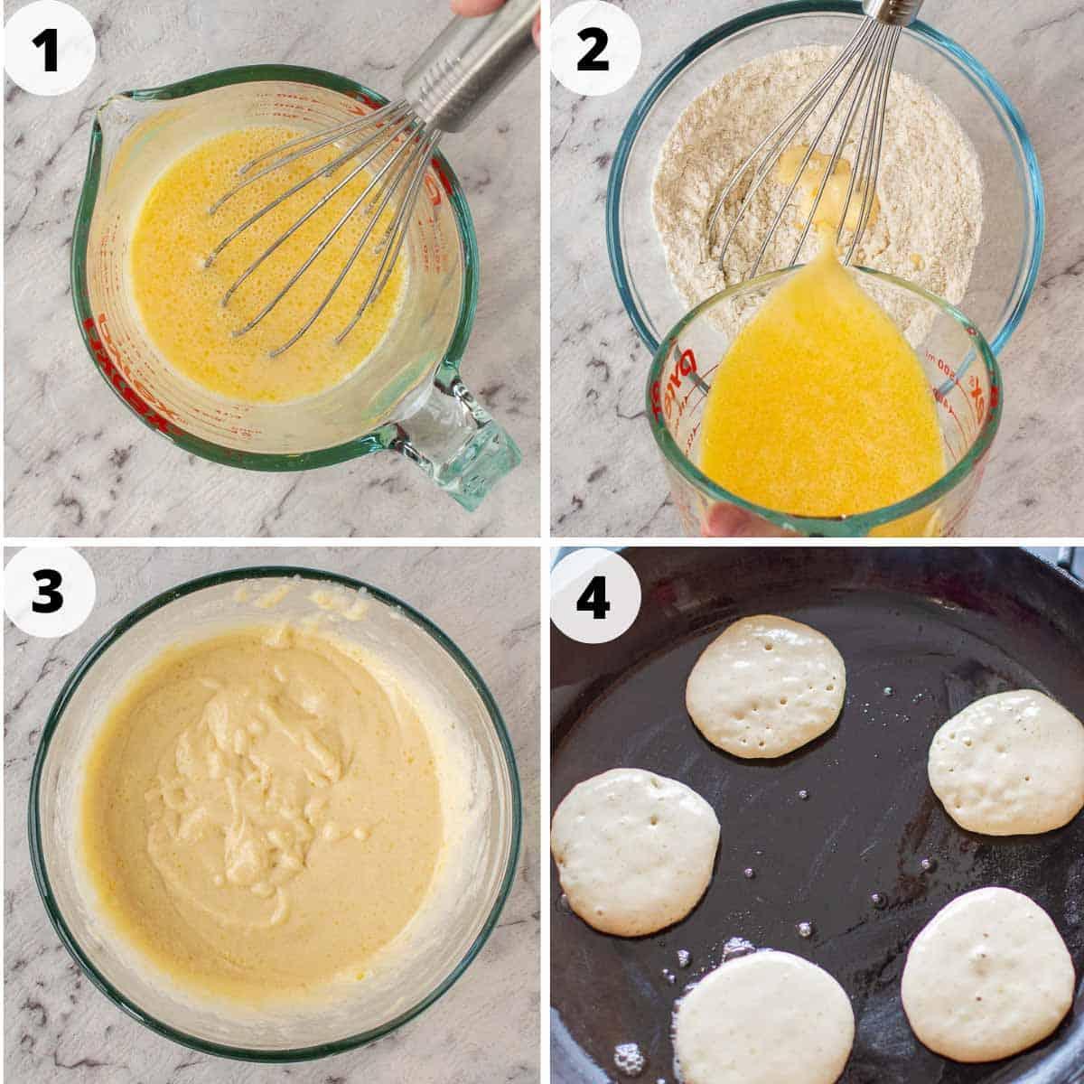 4-step process images to make mini pancakes