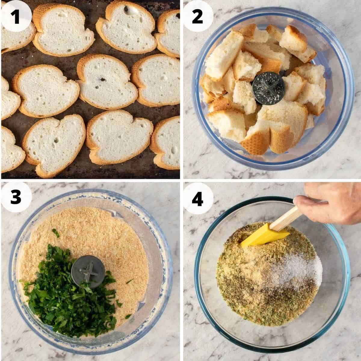 4-step process to make italian bread crumbs.