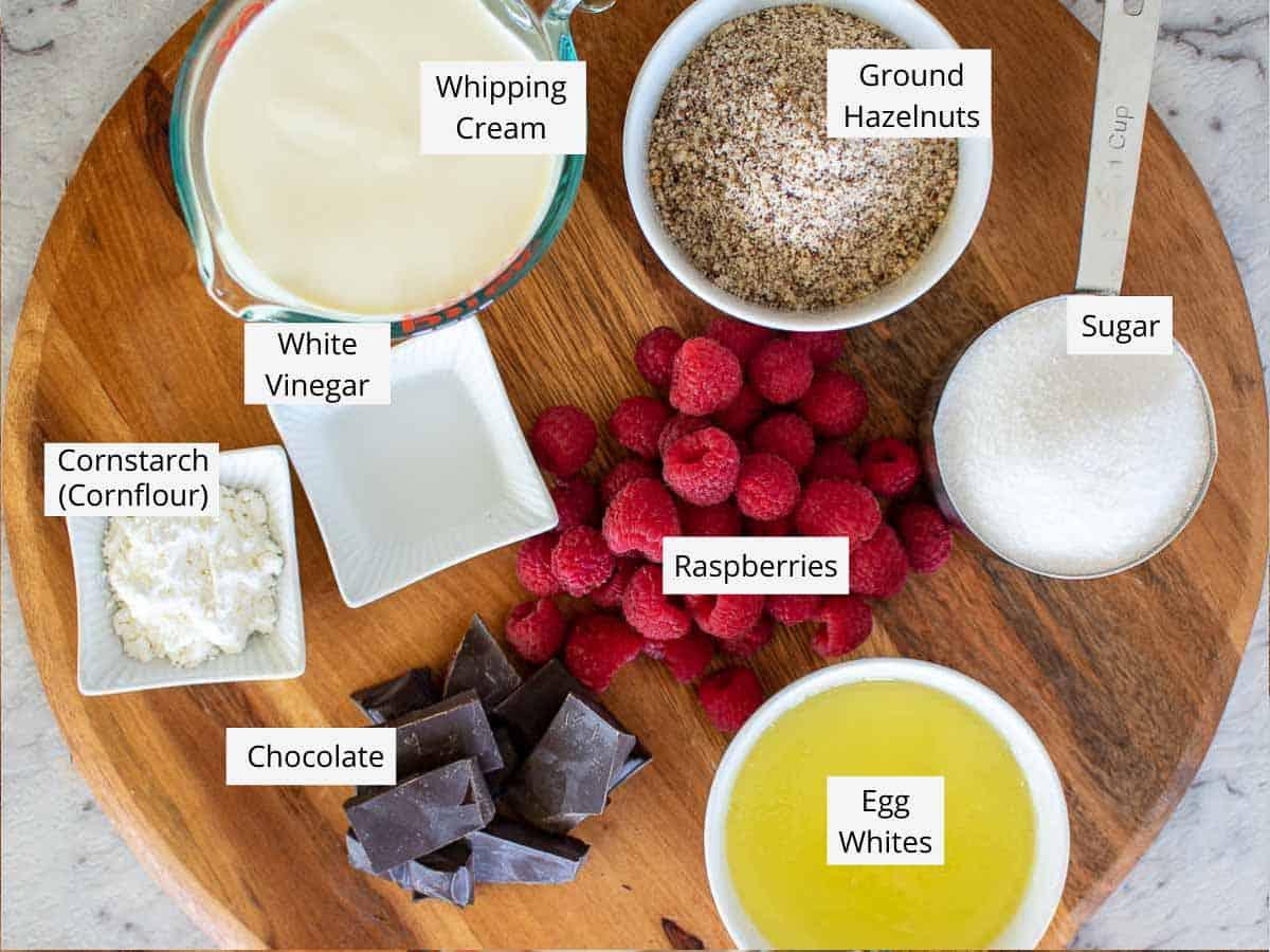 ingredients for raspberry torte.