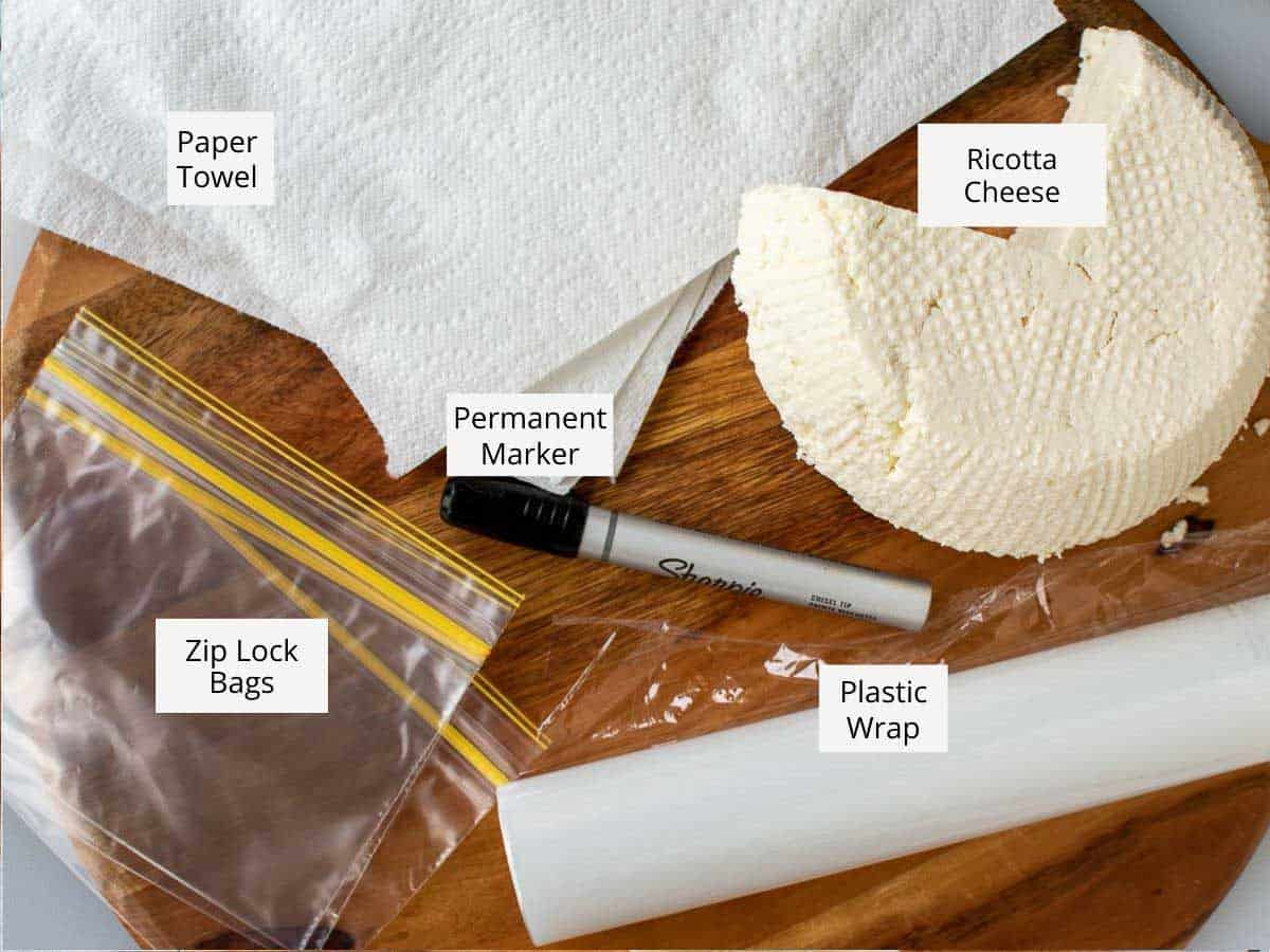 items needed to freeze ricotta cheese.