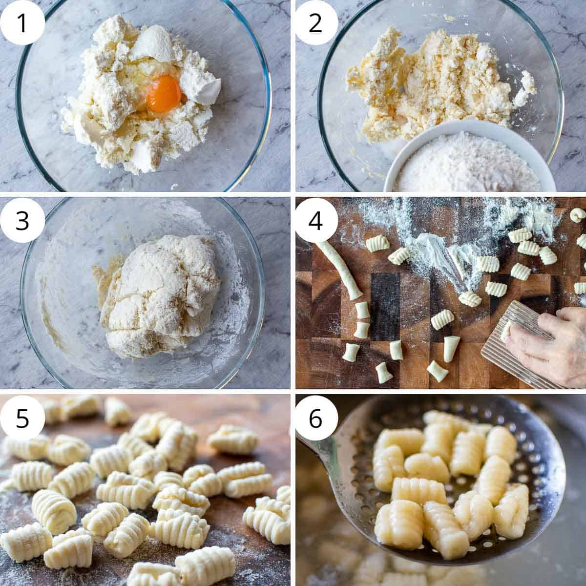 6 step photo collage showing how to make ricotta cavatelli.