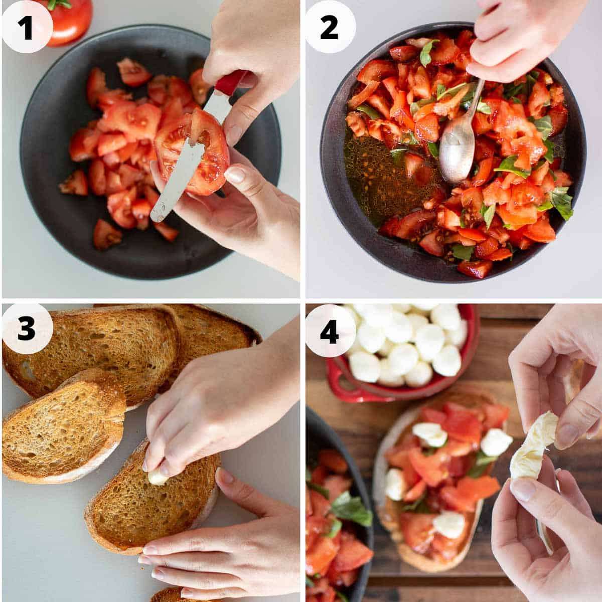4 step photo collage of process for making bruschetta with mozzarella.