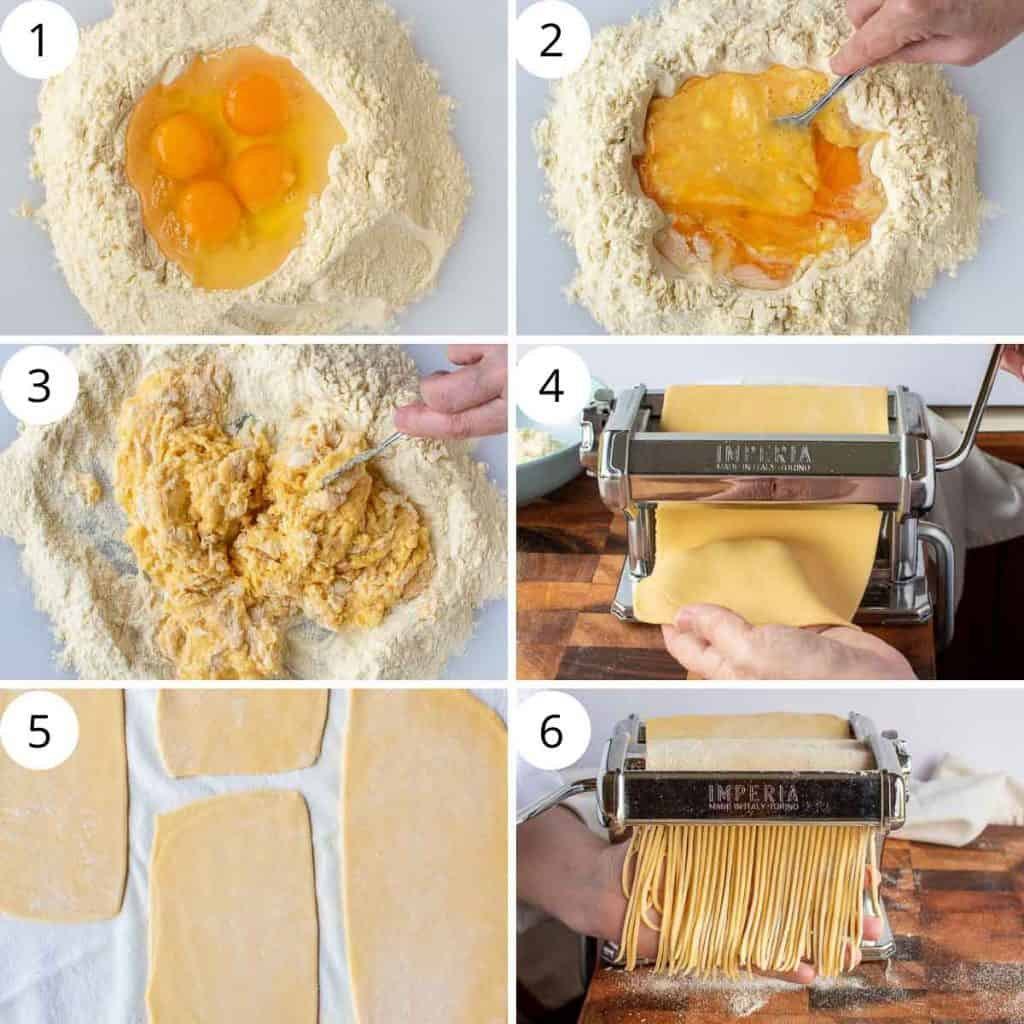 6 step photo collage showing how to make tonnarelli pasta.