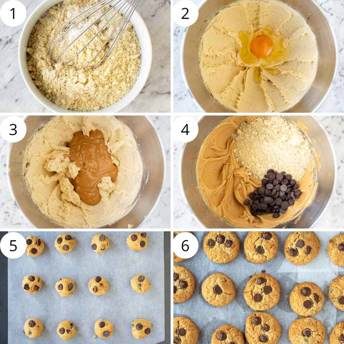 6 step photo collage showing how to make almond flour peanut butter cookies.