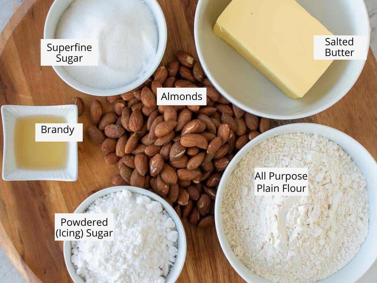 Italian wedding cookies ingredients as in the recipe card.