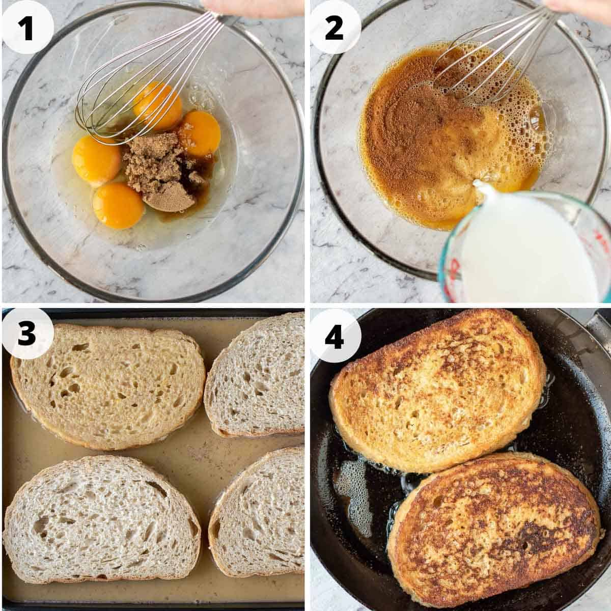 4 step process showing how to make sourdough french toast.