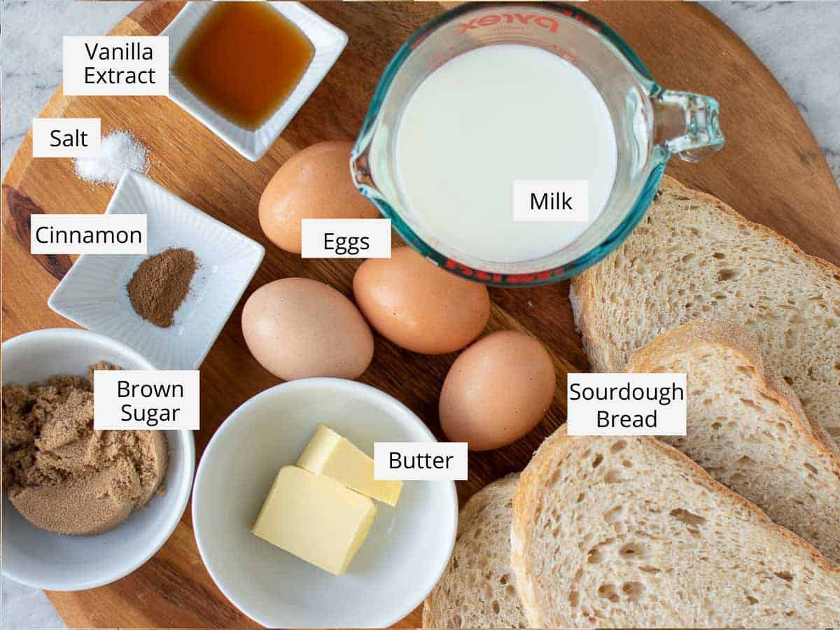 ingredients for sourdough french toast.
