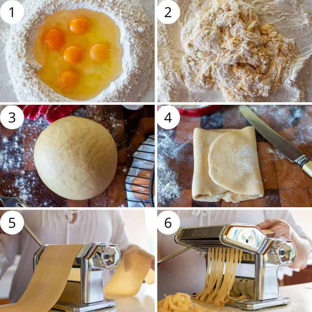 6 step photo collage showing how to make tagliatelle
