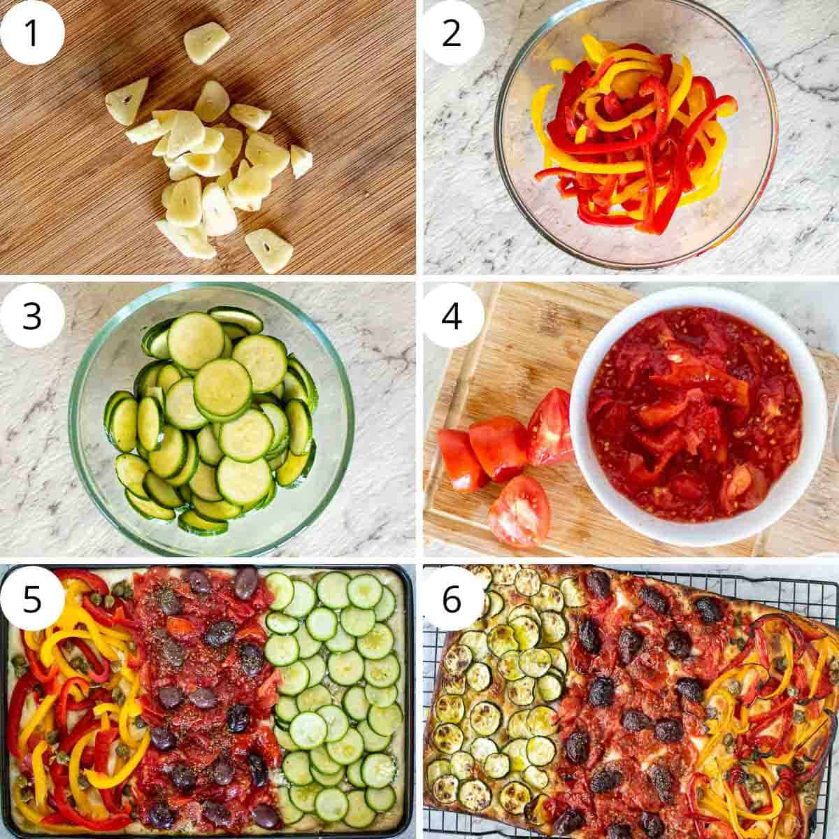 6 step photo collage showing how to make focaccia with different toppings.