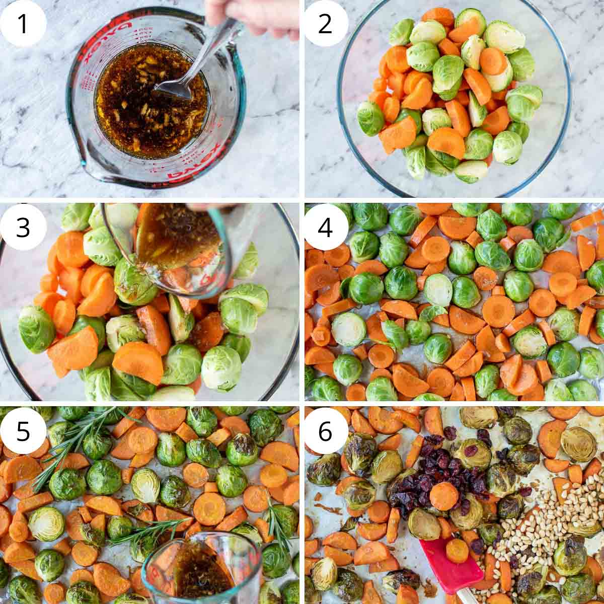 6 step photo collage showing how to make roasted brussels sprouts and carrots.