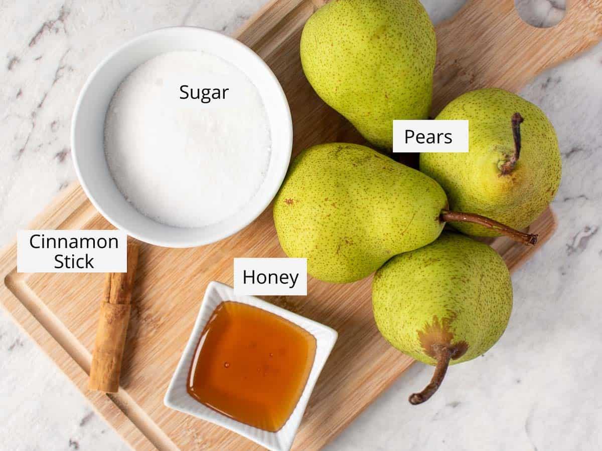 ingredients for stewed pears.